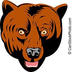 grizzly björn, huvud, framdelen beskådar
