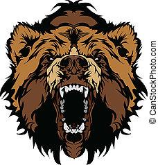 grizzly björn, maskot, huvud, vektor, gra