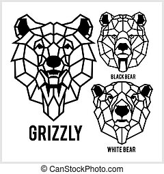 Grizzly, black bear, white bear - animal heads icons. Vector geometric illustrations of wild life animals.