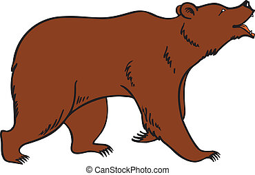 A illustration of a cute grizzly, brown or Kodiak bear