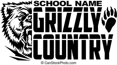 grizzly country team design with mascot and bear claw for ...