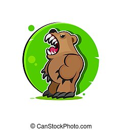 Grizzly Mascot, Team Logo Design, Bear Vector