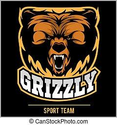 Grizzly mascot - team logo design.