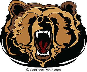 grizzly, mascotte, testa, vettore, gra