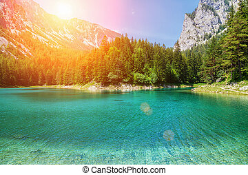 Gr?ner see with crystal clear water in Austrian Alps