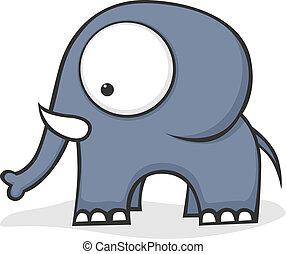 groß, äugig, elefant