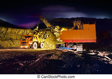 groß, abbauenden lastwagen, gelber