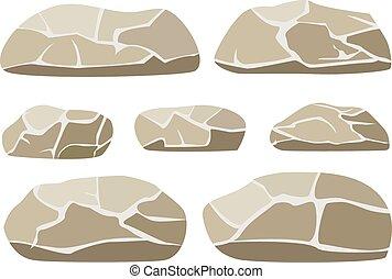 groß, abbildung, steinen, vektor, hintergrund, klein, weißes