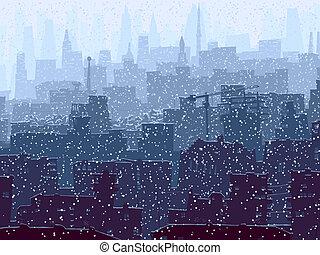 groß, abstrakt, city., verschneiter