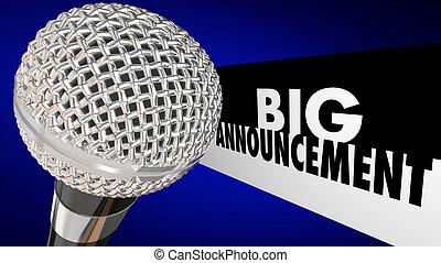 groß, ankündigung, wichtig, nachrichten, aktualisierung, nachricht, mikrophon, 3d, abbildung