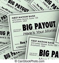 groß, auszahlung, viele, prüfungen, reich, wohlhabend, geldhaufen