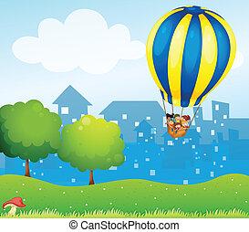 groß, balloon, luft, heiß, hügel, oben