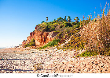 groß, berg, sand, sandstrand, in, portugal