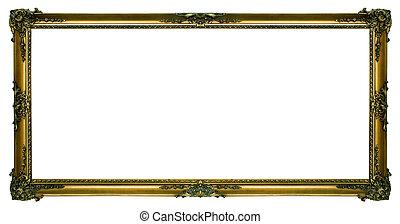 groß, bilderrahmengold, landschaftsbild