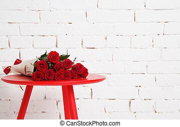 groß, blumengebinde, rote rosen