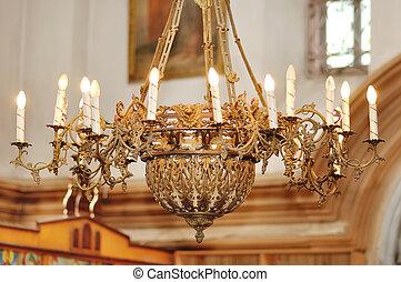 Groß, Bronze, Kronleuchter, In, Christ, Kirche