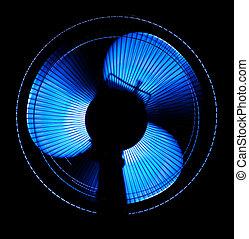 groß, buero, fächer, in, blaues licht