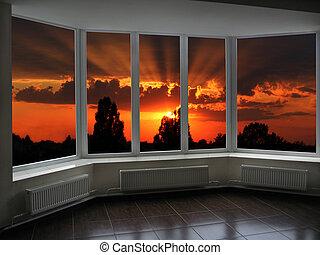 groß, buero, windows, mit, sonnenuntergang, jenseits, ihm