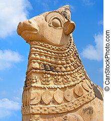 groß, bull., indien, statue, nandi