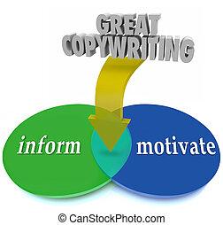 groß, copywriting, venn diagramm, informieren, motivieren, bewegung, kunden, zu
