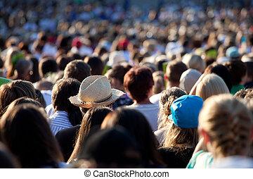 groß, crowd, von, leute