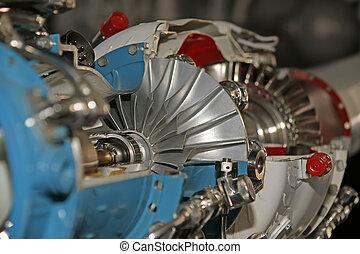 groß, düsentriebwerk, detail, angesehen, von, unterhalb,...