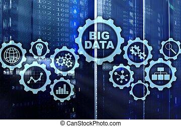 groß, daten, begriff, von, hallo technologie, und, innovation, in, geschaeftswelt, und, production., virtuell, schirm, auf, daten zentrieren, server, hintergrund