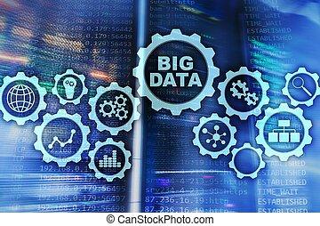 groß, daten, begriff, von, hallo technologie, und, innovation, in, geschaeftswelt, und, production., virtuell, schirm, auf, daten zentrieren, server, hintergrund.