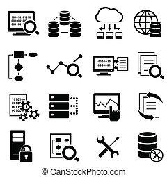 groß, daten, wolke, rechnen, und, technologie- ikonen