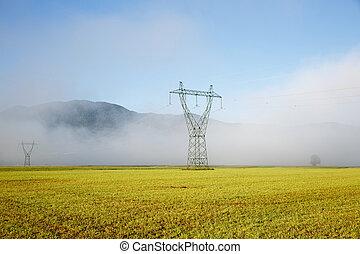 groß, elektrizität, hochspannung, mast, mit, stromleitungen