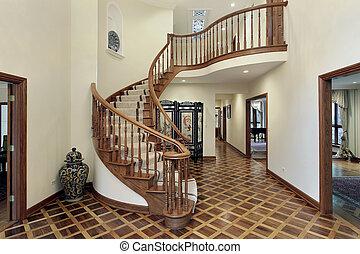 groß, empfangshalle, treppenaufgang, kreisförmig