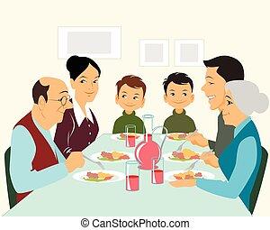 groß, essende, familie