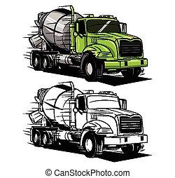 groß, färbung, lastwagen, buch, zeichen