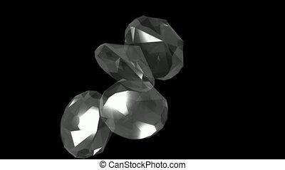 groß, fallender , &, diamanten, gems.