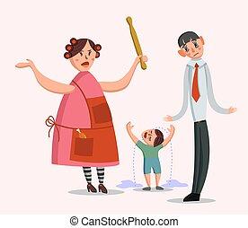 groß, familie, streiten
