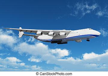 groß, fracht, verkehrsflugzeug, in, der, blauer himmel, mit,...