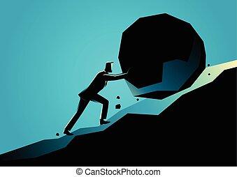 groß, geschäftsmann, stein, anschieben, bergauf