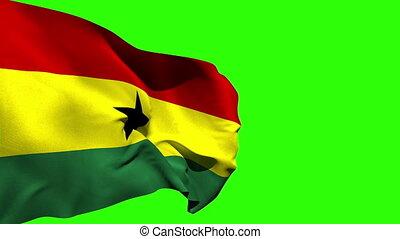 groß, ghana, national, blasen, fahne