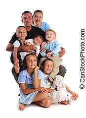 groß, glück, fünf, kinder, familie