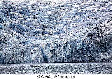 groß, gletscher, fracht, blaues, ankerplatz, alaska