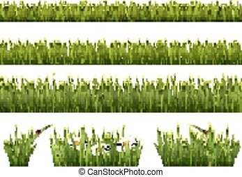 groß, grass., grün, vector., sammlung