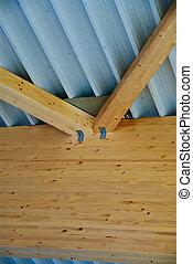 groß, hölzern, bruchbänder, unterstuetzung, der, dach, von, a, groß, fabrik, gebäude