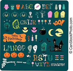 groß, halloween, ikone, satz
