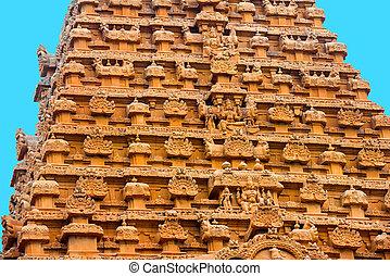 groß, hindu, bas-r, eingang, element, architektur, tempel,...