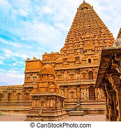 groß, hindu, brihadishwara, n, indien, architektur, tamil,...