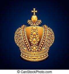groß, hintergrund, krone, königlich, dunkel, gold