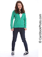 groß, jeans, teenager, hoodie, lächeln, m�dchen