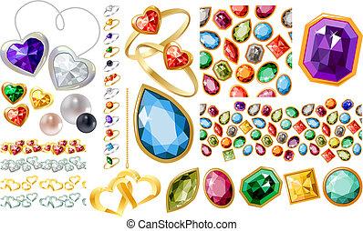 groß, jewelery, satz, mit, edelsteine, und, ringe
