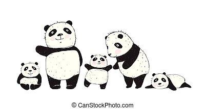 groß, kinder, eltern, pandas, familie
