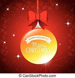 groß, kugel, frohe weihnacht, glücklich, feiertage, geschenkband, schleife, roter hintergrund